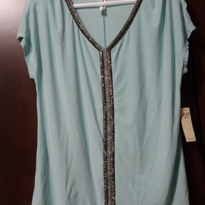 NWT Mint Green Top with Beading